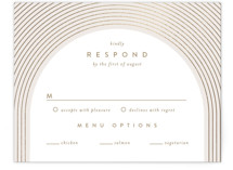 This is a beige rsvp card by Leah Bisch called Bloom with foil-pressed printing on signature in standard.