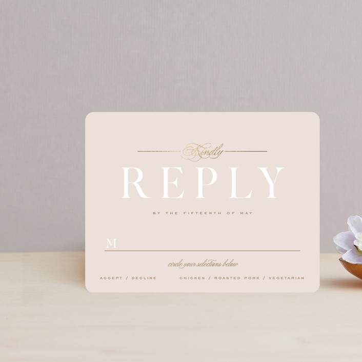 """Lovely Day"" - Foil-pressed Rsvp Cards in Rose Quartz by Leah Bisch."