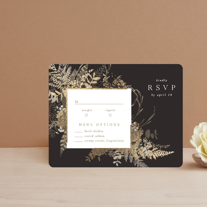 """""""Garden"""" - Foil-pressed Rsvp Cards in Mahogany by Leah Bisch."""