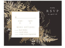 This is a brown rsvp card by Leah Bisch called Garden with foil-pressed printing on signature in standard.