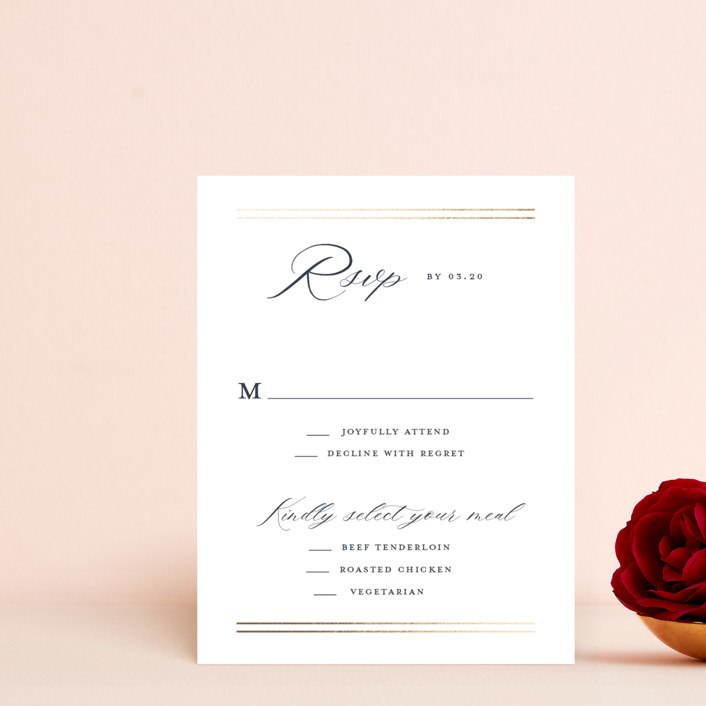 """""""The Biltmore"""" - Foil-pressed Rsvp Cards in Navy by Stacey Meacham."""