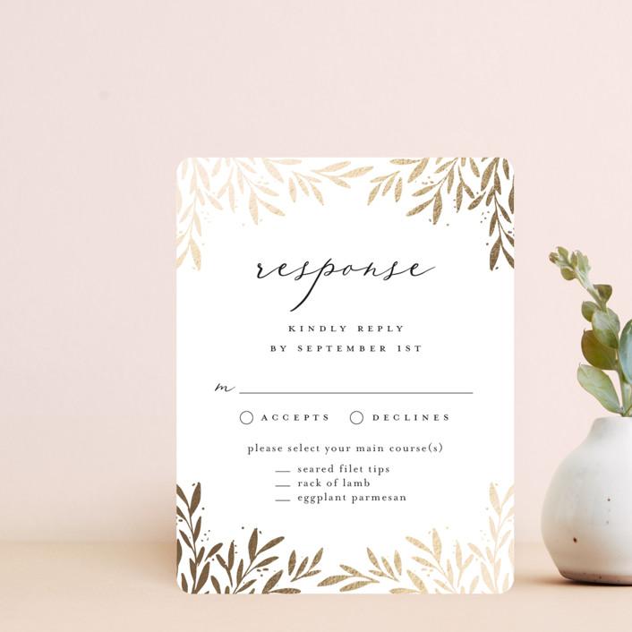 """Vine + Pen"" - Foil-pressed Rsvp Cards in Gardenia by Laura Hankins."