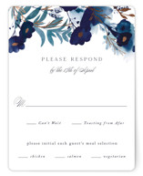 This is a blue rsvp card by Olivia Raufman called Splendid Ink with foil-pressed printing on signature in standard.
