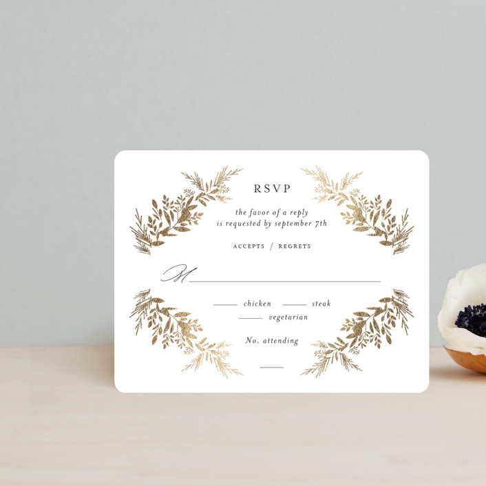 """""""etched wreath"""" - Foil-pressed Rsvp Cards in Inkwell by Jennifer Postorino."""