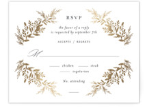 This is a blue rsvp card by Jennifer Postorino called etched wreath with foil-pressed printing on signature in standard.