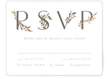 This is a white rsvp card by Creo Study called Love and Marriage with foil-pressed printing on pearlescent in standard.