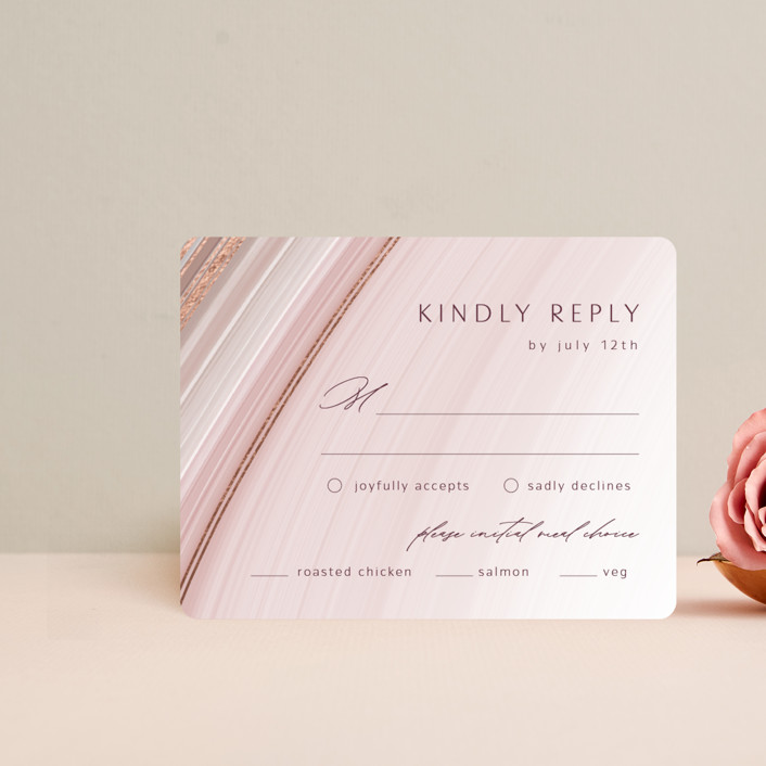 """chiffon"" - Modern Foil-pressed Rsvp Cards in Desert Rose by Kaydi Bishop."