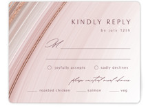 This is a pink rsvp card by Kaydi Bishop called chiffon with foil-pressed printing on signature in standard.