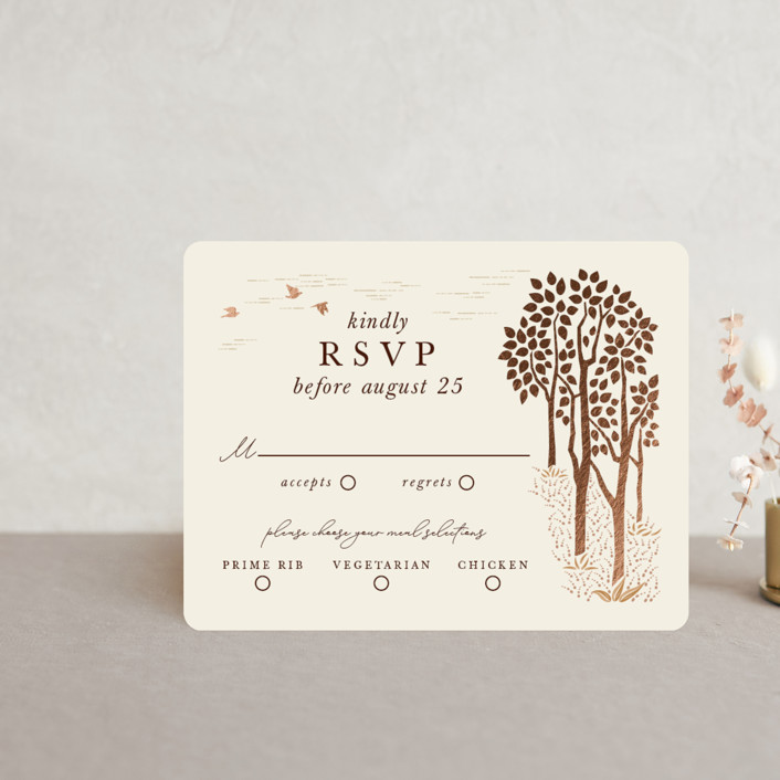 """""""In the country"""" - Rustic Foil-pressed Rsvp Cards in Chestnut by Paper Sun Studio."""