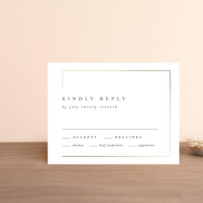"""""""Gilded Border"""" - Foil-pressed Rsvp Cards in Silk by Kelly Schmidt."""