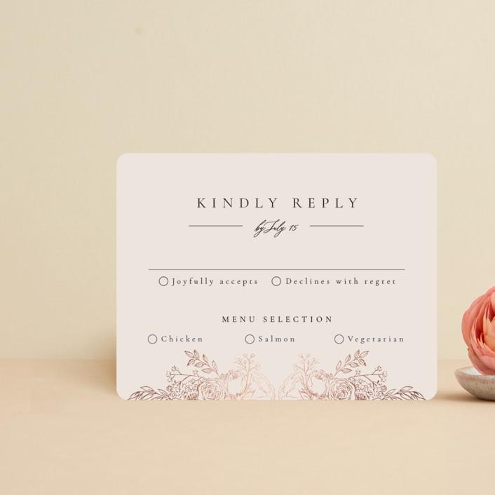 """""""Floral Frame"""" - Foil-pressed Rsvp Cards in Powder by frau brandt."""