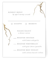 This is a white rsvp card by Design Lotus called kintsugi with foil-pressed printing on signature in standard.
