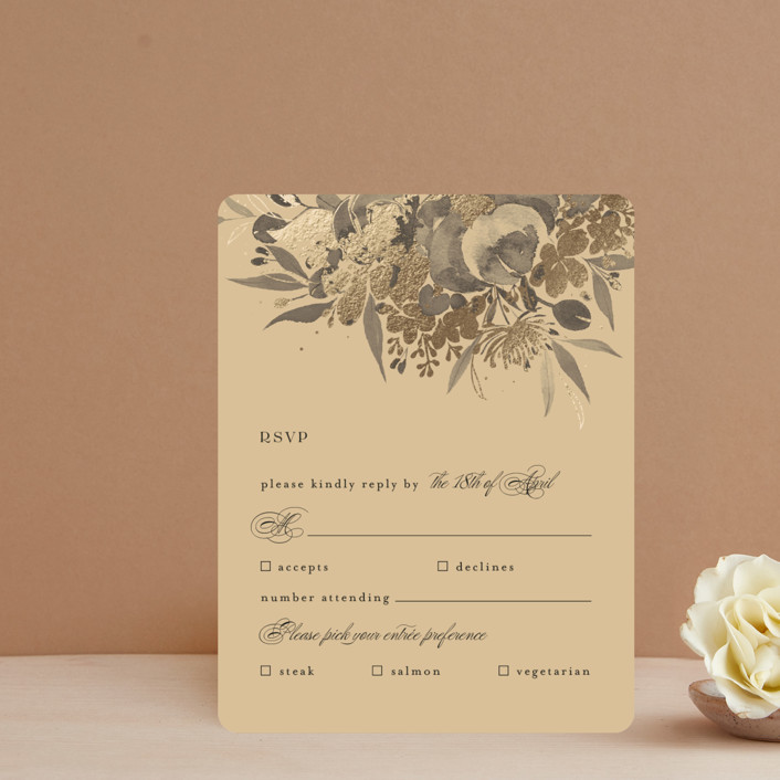 """""""Happiness"""" - Foil-pressed Rsvp Cards in Cherry by Shannon Chen."""