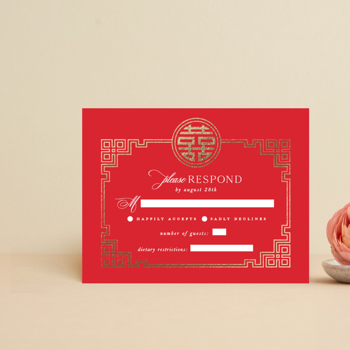 """""""HAPPINESS x 2"""" - Foil-pressed Rsvp Cards in Ruby by Melanie Kosuge."""