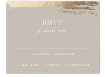 This is a grey rsvp card by Carolyn Nicks called True Love with foil-pressed printing on signature in standard.