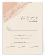 This is a pink rsvp card by Robin Ott called empyrean with foil-pressed printing on signature in standard.