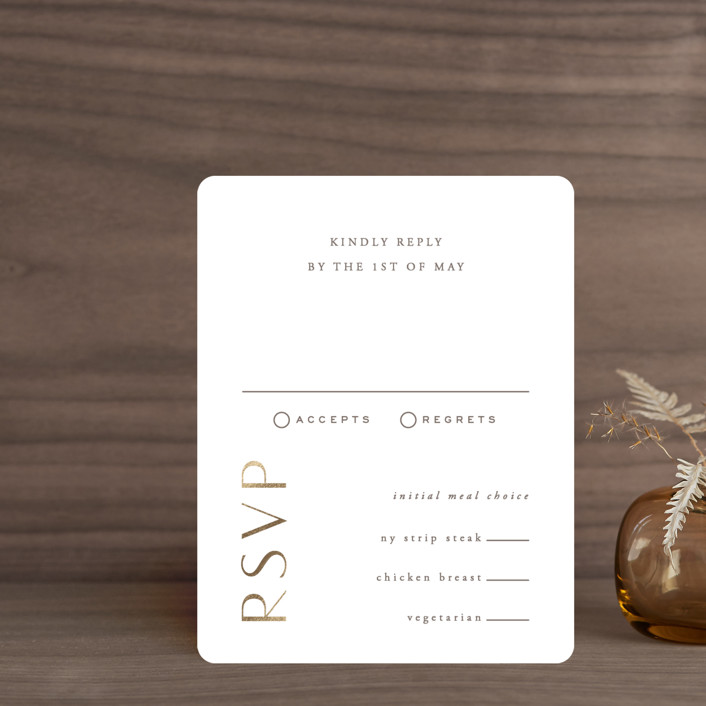 """""""Gilded Ampersand"""" - Foil-pressed Rsvp Cards in Pearl by Hooray Creative."""