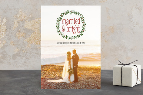 Married and Bright Wreath Holiday Photo Cards