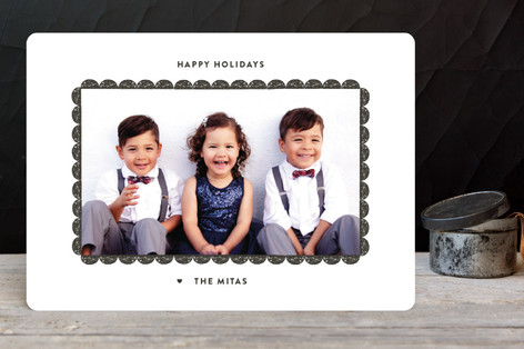 Modern Scallop Holiday Photo Cards