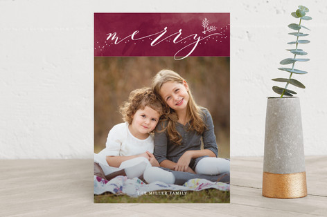 watercolored merry Holiday Photo Cards
