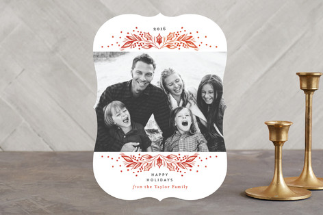 Classic Holly Branch Holiday Photo Cards