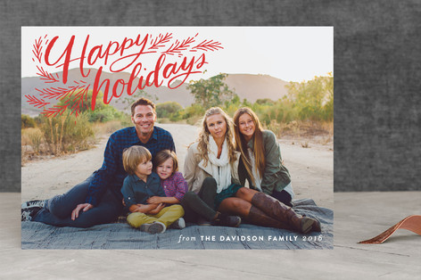 Merry Christmas Pine Corner Holiday Photo Cards