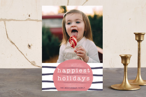 Merry & Bright Watercolor Stripes Holiday Photo Cards