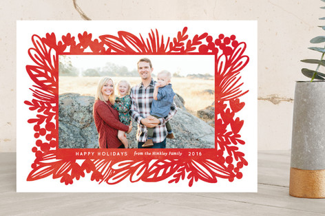 Bold Botanical Holiday Photo Cards