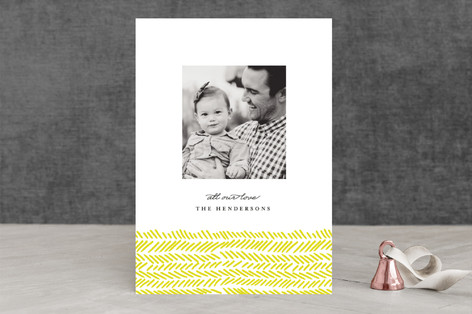 Hand Drawn Herringbone Holiday Photo Cards