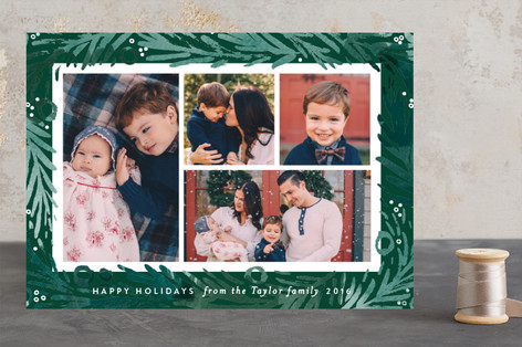 Pine Branch Painting Holiday Photo Cards