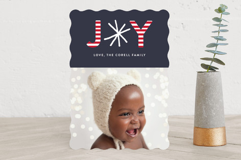 Joy In Stripes Holiday Photo Cards