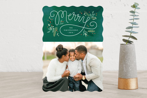 Merry foliage frame Holiday Photo Cards