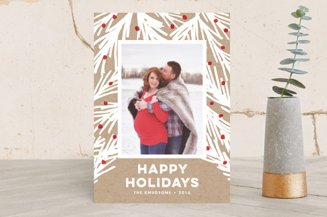 Rustic Pine Holiday Photo Cards