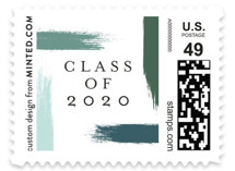 This is a green kids postage stamp by Bethany McDonald called holiday brushed with standard printing on adhesive postage paper in stamp.