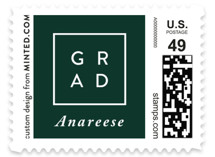 This is a green kids postage stamp by Pine Street Creative called Classic Graduate with standard printing on adhesive postage paper in stamp.