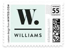 This is a blue kids postage stamp by Dawn Jasper called Numero with standard printing on adhesive postage paper in stamp.