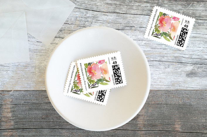 """""""Watercolor Floral"""" - Floral & Botanical Baby And Kids Stamps in Olive by Yao Cheng Design."""