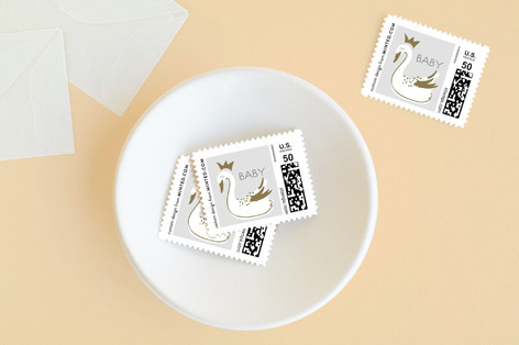 gilded swans Baby and Kids Stamps