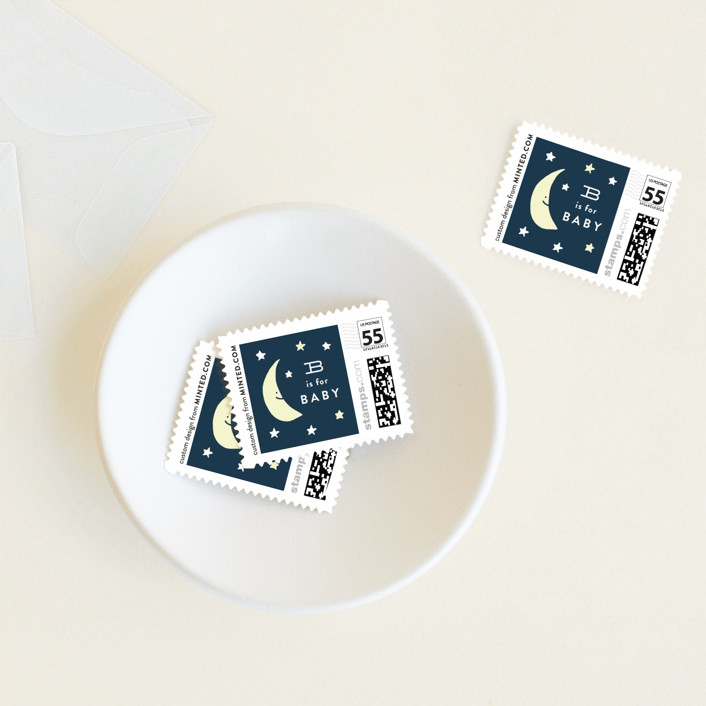 """""""Moon and stars"""" - Baby And Kids Stamps in Midnight Blue by Jennifer Wick."""