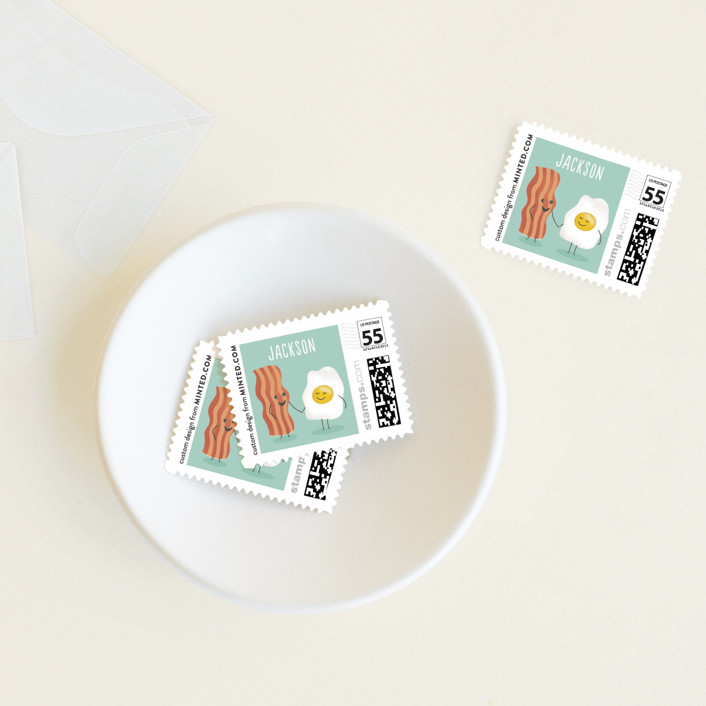 """""""Egg-cellent friend"""" - Baby And Kids Stamps in Aquamarine by Jana Volfova."""