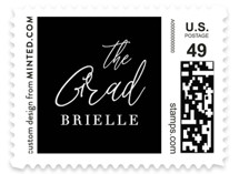 This is a black kids postage stamp by Basil Design Studio called Brielle with standard printing on adhesive postage paper in stamp.