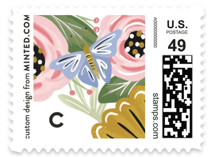 This is a pink kids postage stamp by Joanna Griffin called Secret Garden with standard printing on adhesive postage paper in stamp.
