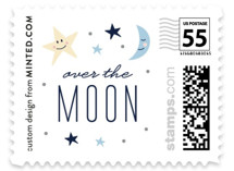 This is a blue kids postage stamp by Carolyn MacLaren called Moon and the Stars with standard printing on adhesive postage paper in stamp.