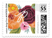 This is a orange kids postage stamp by Cass Loh called boho flowers with standard printing on adhesive postage paper in stamp.