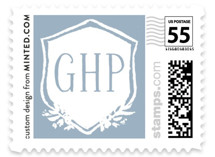 This is a blue kids postage stamp by Lagniappe Paper called Bloomfield Crest with standard printing on adhesive postage paper in stamp.