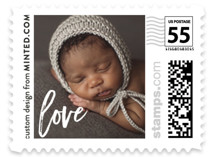 This is a white kids postage stamp by Minted called My Love with standard printing on adhesive postage paper in stamp.