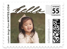 This is a white kids postage stamp by Minted called Hello There with standard printing on adhesive postage paper in stamp.