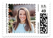 This is a white kids postage stamp by Minted called Scalloped Frame with standard printing on adhesive postage paper in stamp.
