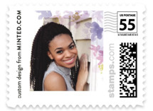 This is a purple kids postage stamp by Minted called Floral Bloom with standard printing on adhesive postage paper in stamp.