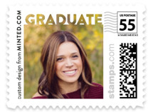 This is a white kids postage stamp by Minted called Bold Graduate with standard printing on adhesive postage paper in stamp.